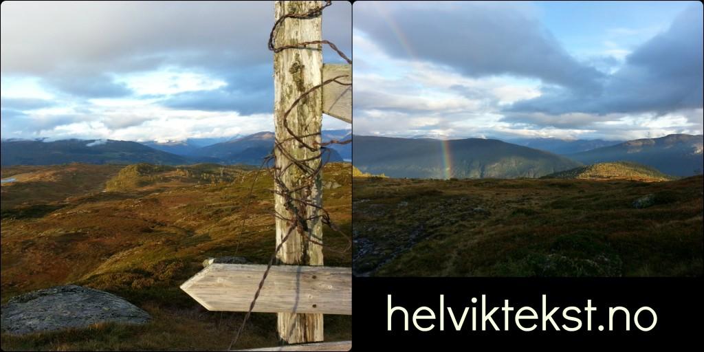 Utsikt frå Nuken med eit gamalt skilt og bilete av ein regnboge på same turen.
