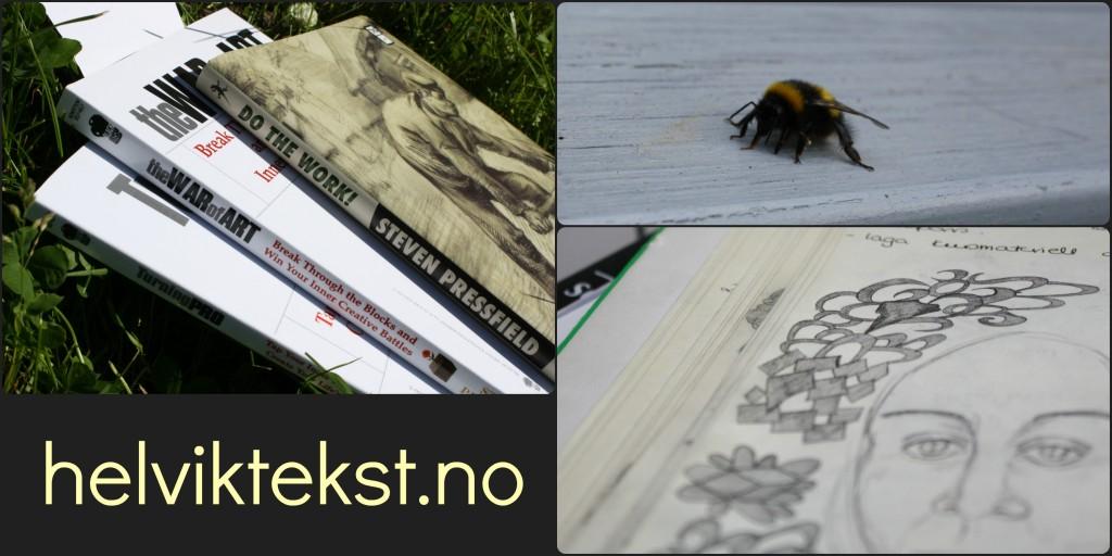 Tre bøker av Steven Pressfield (Do the Work, The War of Art og Turning Pro. Ei humle. Krussedullar i ei kladdebok.