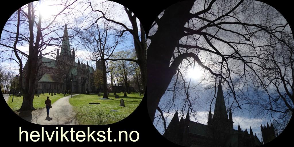 To bilete av Nidarosdomen. Det eine viser katedralen bada i sol, medan det andre er teke frå ein annan vinkel. Der ein får eit meir dystert inntrykk.