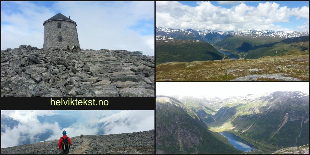 Bilete 1: Skålatornet, bilete 2: Sti i steinrøys, bilete 3: Utsikt over ein dal og eit vatn, bilete 4: Høge toppar og ein dal med eit vatn i botnen.