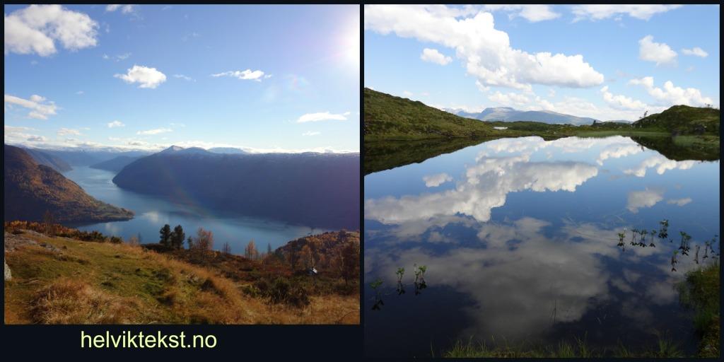 Bilete 1: Fjell med fjord i botnen i haustfargar, bilete 2: Blå himmel og skyer speglar seg i eit fjellvatn.