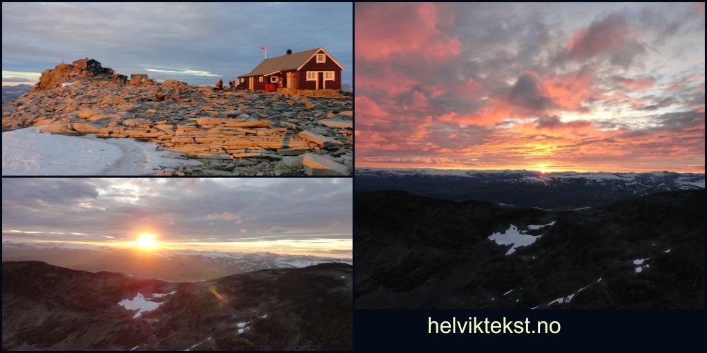 Bilete 1: Ei raud hytte på ei steinrøys, bada i dei siste solstålane for dagen, bilete 2: Ein fjellrygg i solnedgang, bilete 3: Solnedgang.