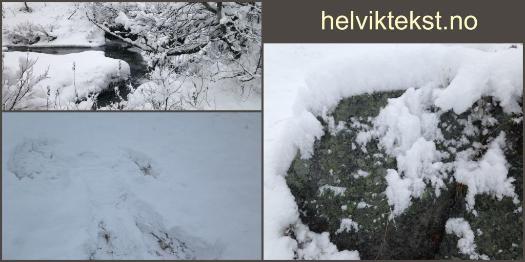 Bilete av ei elv med nysnø rundt, ein snøengel og ein snødekt stein.