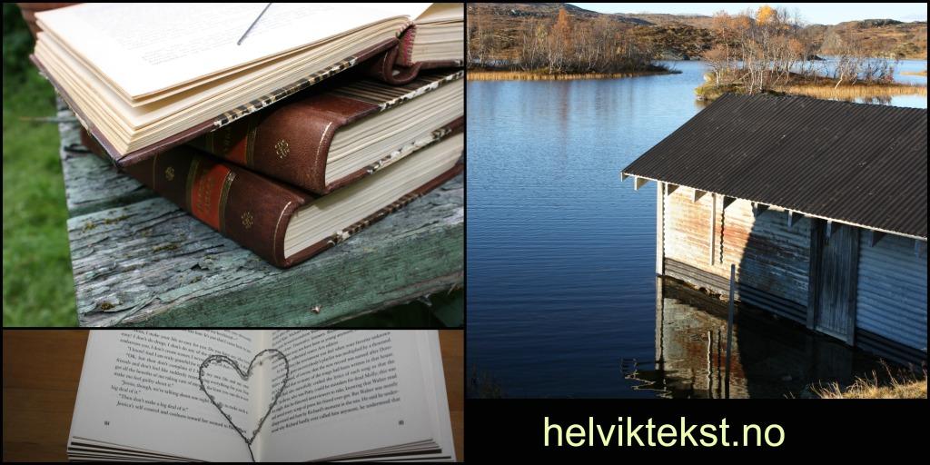Bilete av tre bøker oppå kvarandre, den øvste er oppslegen. Bilete av ei opa bok med eit hjarte. Bilete av eit naust ved eit fjellvatn.