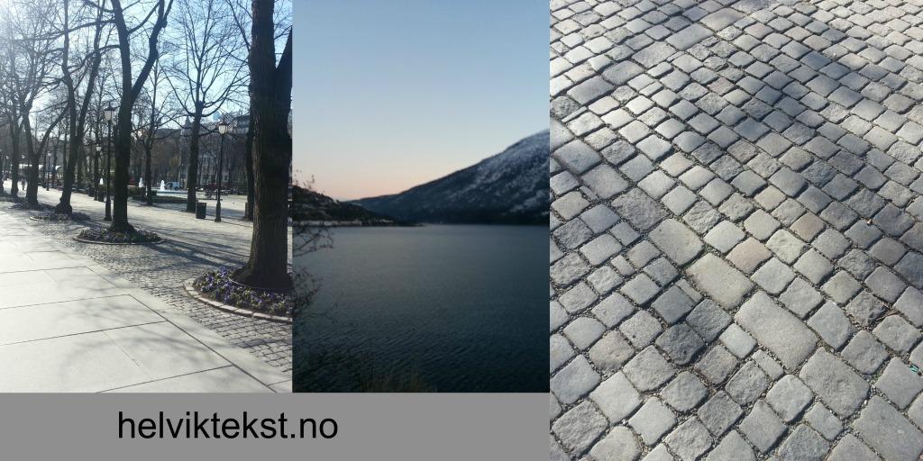 To bilete frå Karl Johan, ei med ein allé, det andre av brustein. Eit bilete av snødekt fjord- og fjell-landskap.