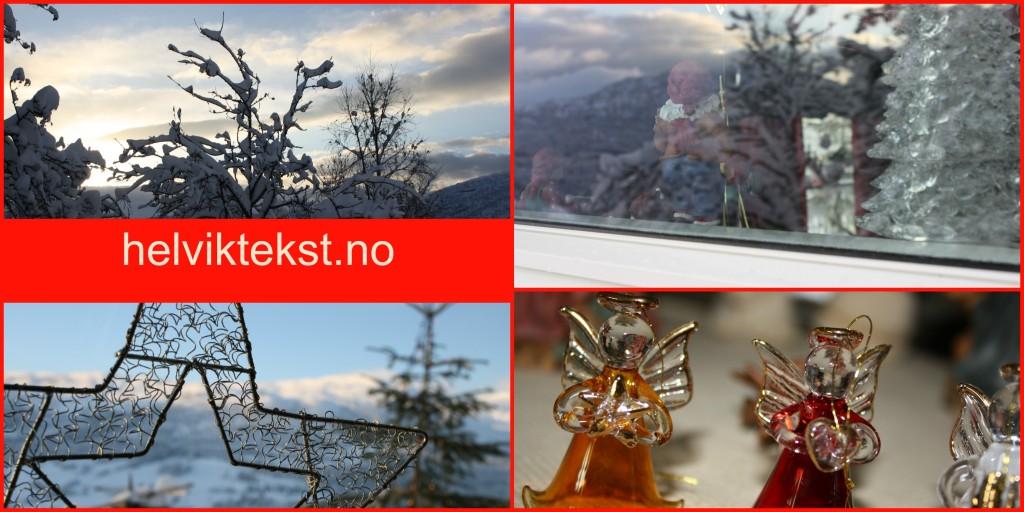 Bilete av vinterlandskap og julepynt.
