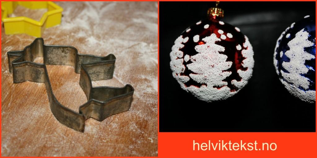 Bilete av peparkakeform og julekuler.