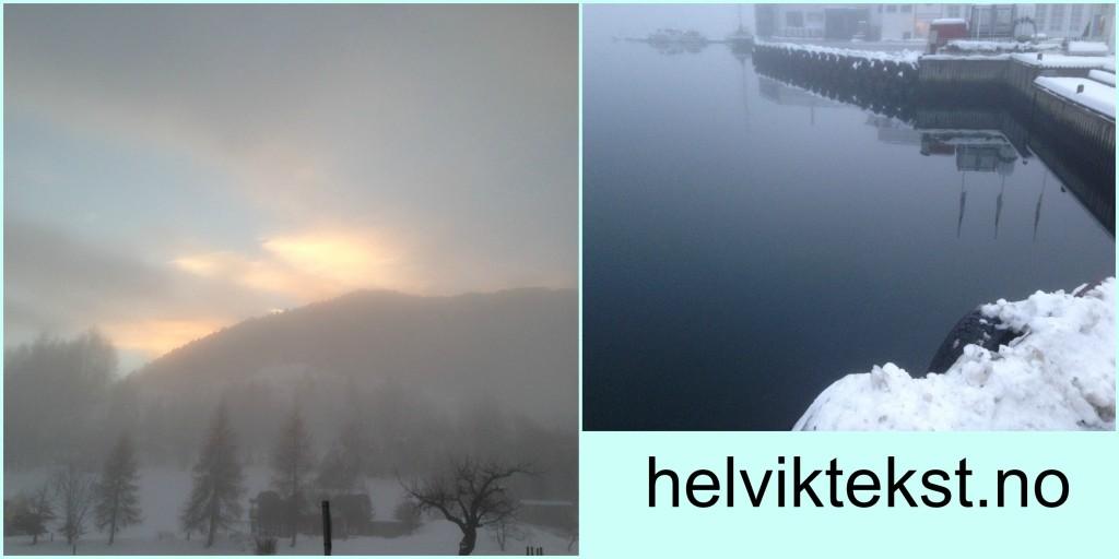 Bilete av vinterlandskap og ein fjord i vinterskrud.