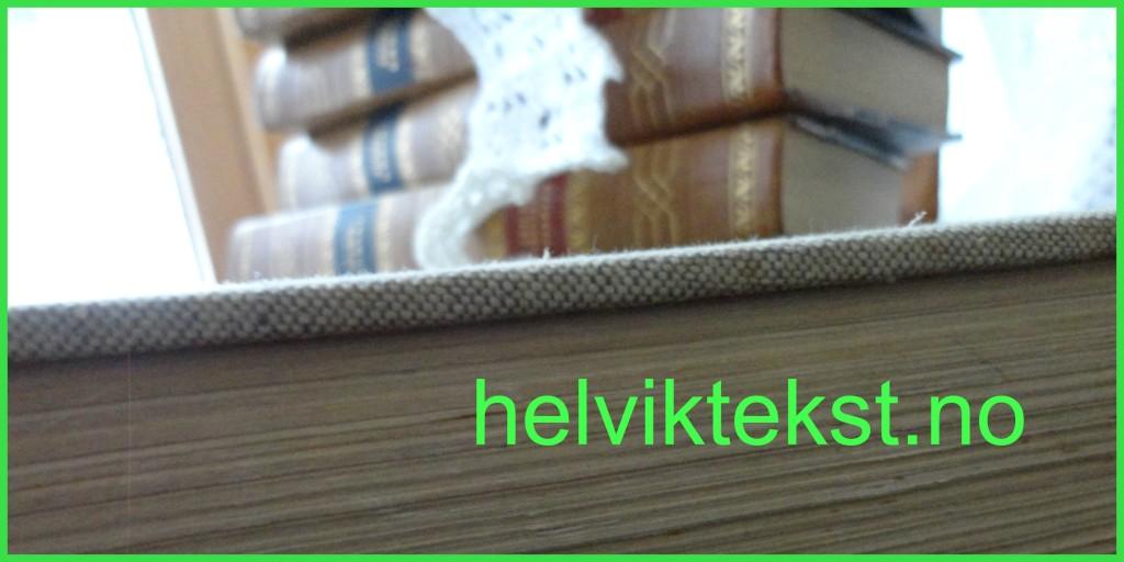 Bilete av ei stor bok med ein stabel av gamle, mindre bøker oppå, ei hekleblonde heng ned.