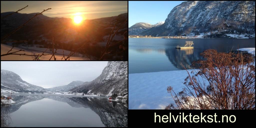Bilete av ein solnedgang, fjell som speglar seg i fjorden og eit stupetårn.