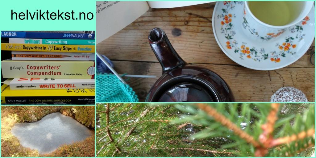 Bilete av ein bokstabel, eit grantre, ein frosen dam og eit bord med tekopp, tekanne, eit strikketøy og ei bok.