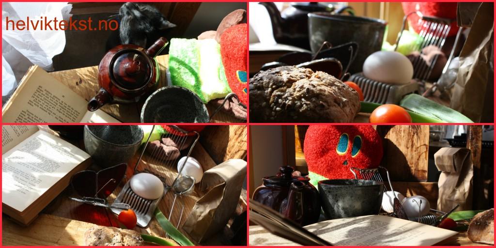 Egg, brød, bok, te og grønsaker, delt i fire bilete. Ein katt og ei fargerik leiketøyslarve er med.