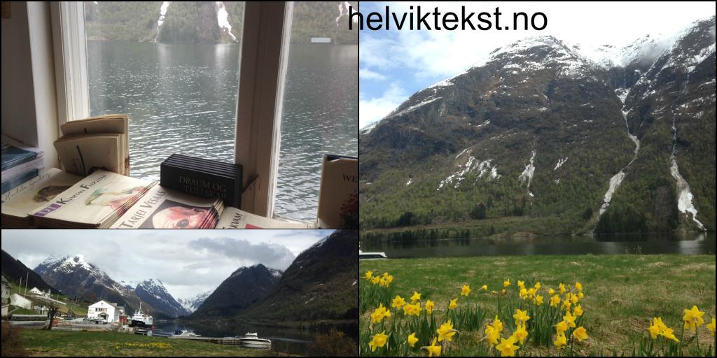 Bilete av ei vindauge med utsyn til fjorden med bøker rundt, to bilete av fjell og landskap i Fjærland.