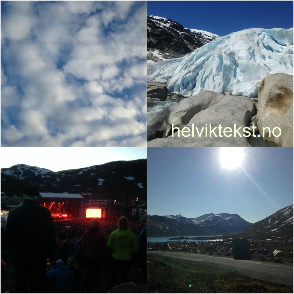 Bilete av ein skya himmel, ei festivalscene, Nigardsbreen og ein teltleir.