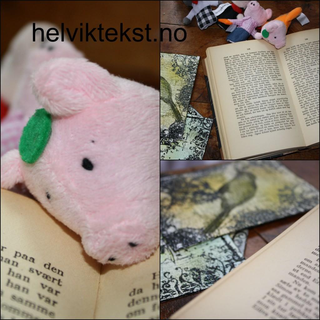 Bilete av bøker og fingerdokker (gris).