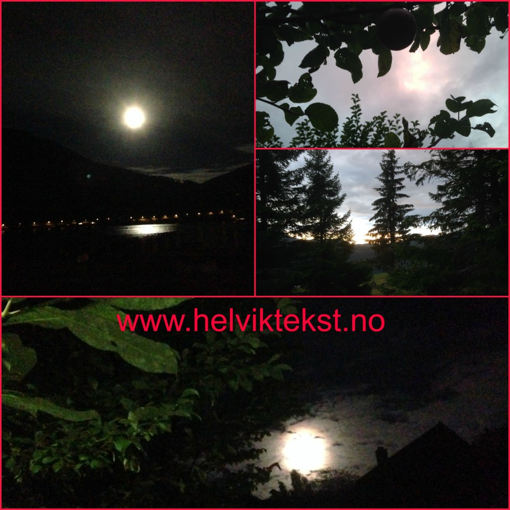 Bilete av ein fullmåne og nokre andre kveldshimlar.