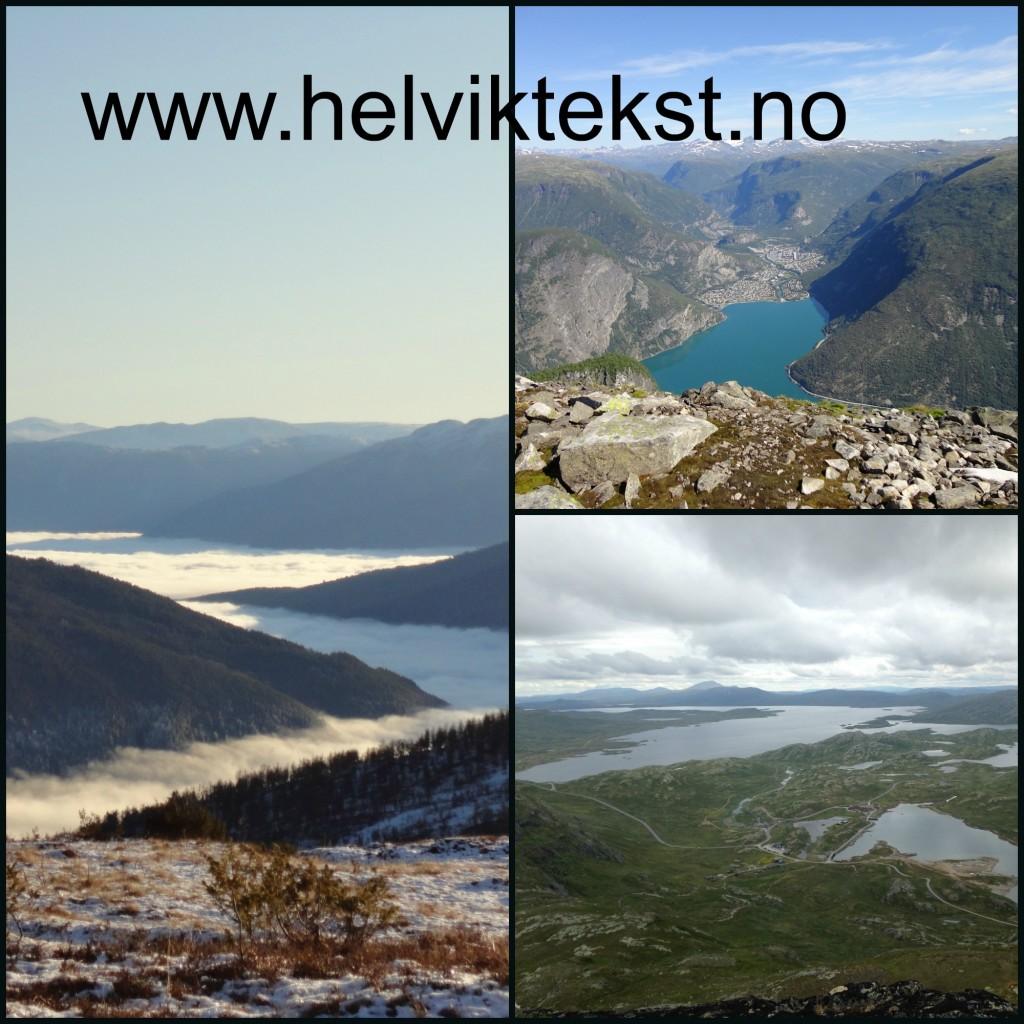 Bilete av ulike fjell-lanskap.