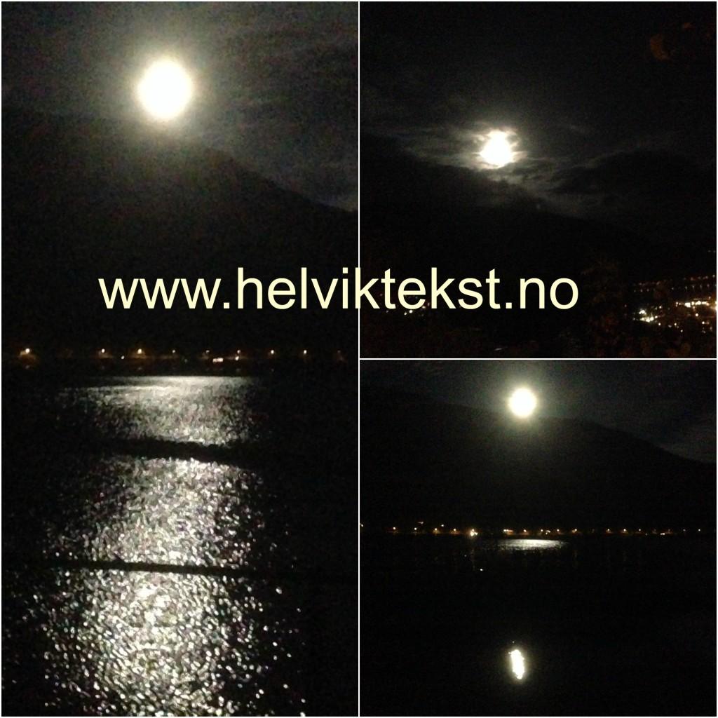 Bilete av fullmånen som blant anna speglar seg i Sognefjorden.