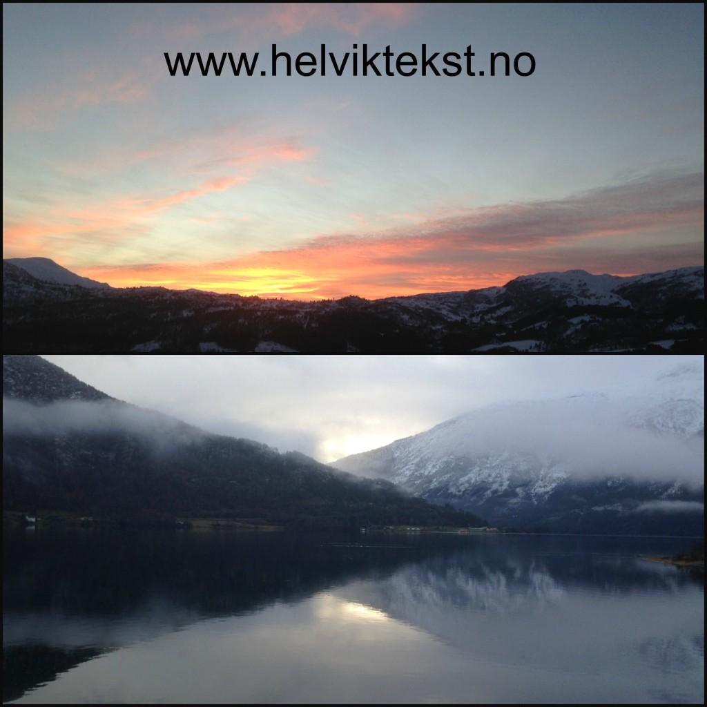 Bilete av ein solnedgong over eit snøkledd fjell (Sogndalsdalen) og av eit snøkledd fjell som speglar seg i Sognefjorden.